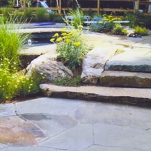 These natural boulder and fieldstone slab steps are the perfect transition from the pool spa to the pool deck of the irregular shaped, natural-looking pool in Westport, CT.