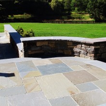A detail of the previous sitting wall and bluestone terrace.