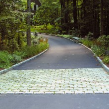 Belgian Block is a welcoming sign to a long and gracious entry drive in Cos Cob, CT.