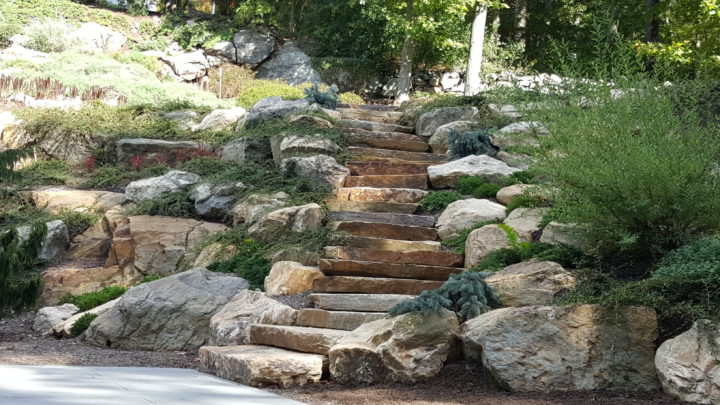 Natural Boulder Step Creations Femia Landscaping