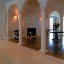 This dramatic setting, at a home in Katonah, NY, was constructed in conjunction with the client and architect. The fireplace and hearth were constructed of Travertine.
