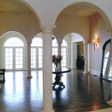Another view of the Katonah, NY home with limestone columns, finials and bases.