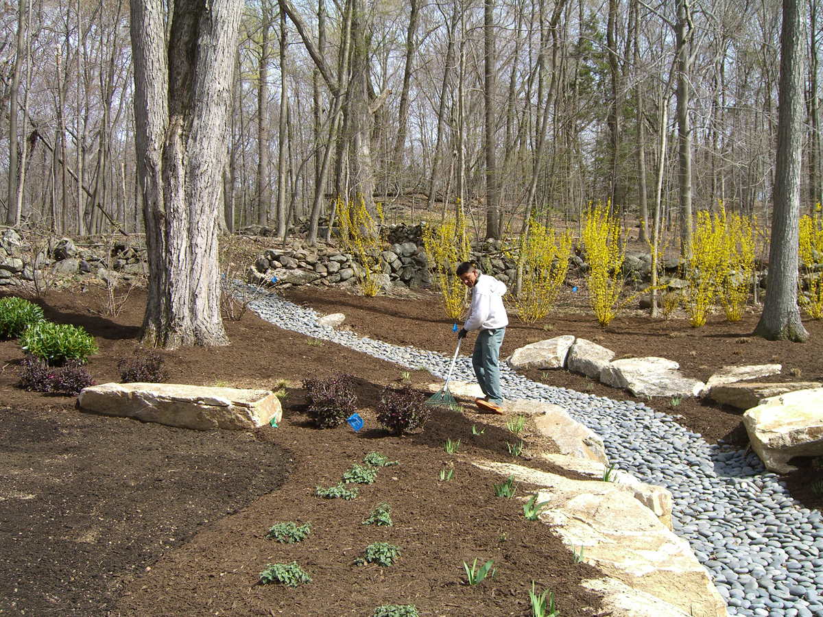 Home drainage systems waterproofing femia landscaping for Yard drainage slope