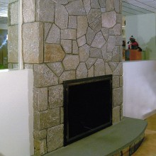 Fireplace in North Stamford in basement pool room.
