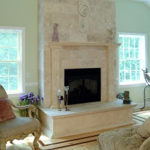 Mexican Travertine fireplace and hearth in South Salem, NY.