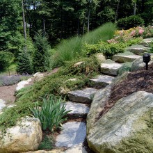 On this very steeply graded property in North Greenwich, the homeowner needed access to the lower yard where the children play. We created these natural stone and boulder steps for safe passage between the two levels. Note the natural looking plantings along the steps which enhance the hillside.