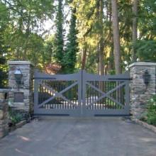Elegant stone entry pillars at a Westport, CT estate.