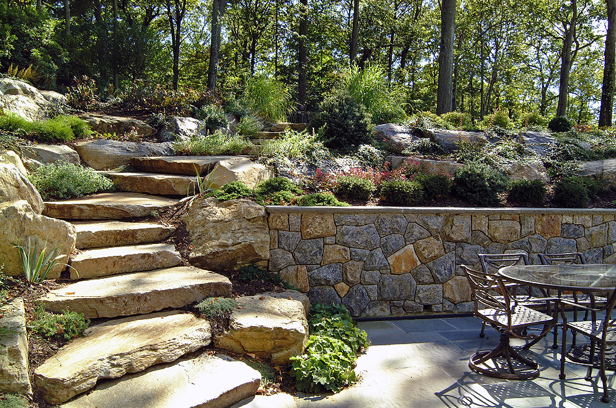 Natural Boulder / Step Creations | Femia Landscaping on Terraced Yard Landscape Ideas id=76724